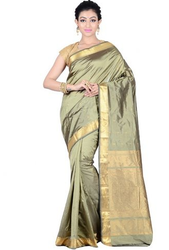 63fb5f372c60dc Blended Silk Party Wear And Wedding Asparagus Green Kanjivaram Silk Butti  Style Zari Woven Saree