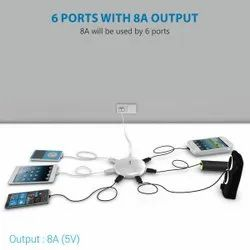 Potronics UFO Home USB Charger 6 Port 8A Charging