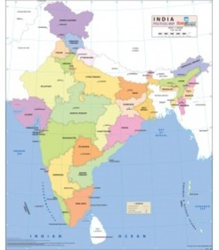 Art Paper India Political Map Size 37 5x32 Inches Rs 200 Piece