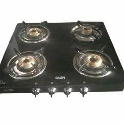 Brass Black glass 4 burner Gas cooktop, 4+1