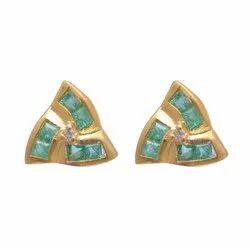 Emerald Studs In Silver With Gold Or Rose Gold Plated