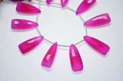 25-30mm 5 Pcs Hot Pink Chalcedony Faceted Pyramid Shape Briolette Beads