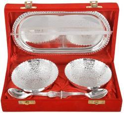 AC Anand Crafts Jaipur Brass Bowl, Spoon & Tray Set, 5 Piece, Silver