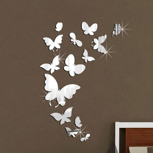 Black Acrylic Butterfly 3d Home Decor Diy Wall Stickers