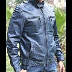 Men Full Sleeve Blue Washed Jackets