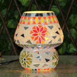 Brahmz Multicolor Mosaic Glass Table Tiffany Turkish Lamp, For Decoration, Dust With Dry Cloth