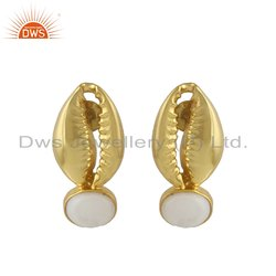 Cowrie 18k Gold Plated Silver Mother of Pearl Gemstone Stud Earring