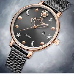 Round Black NF5009 Naviforce Analog Stylish Elegant Quartz Steel Watch, For Formal