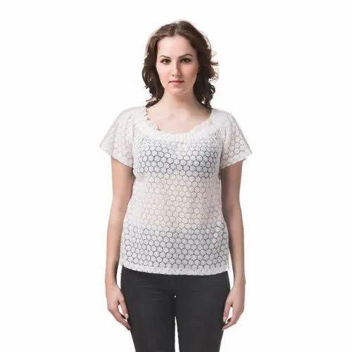 White Georgette Ladies Half Sleeve Top, Size: Xs-xxl