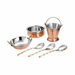 Polished Silver Stainless Steel Kitchen Set, For Home