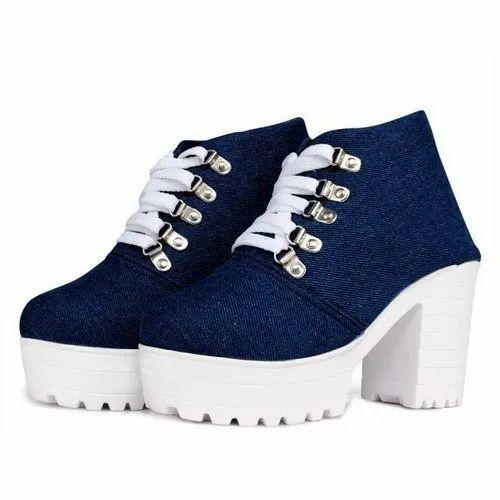 Women High Heels Dark Blue Denim Shoes