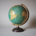 Brass Stand With Wooden Base World Globe