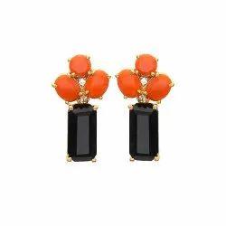 Black Onyx & Orange Chalcedony Earring