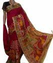 Casual Wear Block Print Cotton Script Block Saree, Hand, 6.3 M (with Blouse Piece)