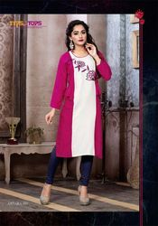 Antara Rayon with Embroidery Pink And White Kurti