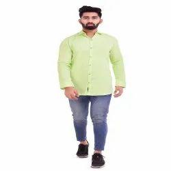Green Cotton Men''s Shirt
