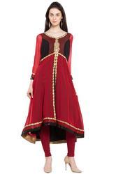 Red Asymmetrical Kalidar Georgette Kurta With Hand Embroidered