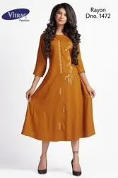 Trendy Rayon Kurti with Embroidery