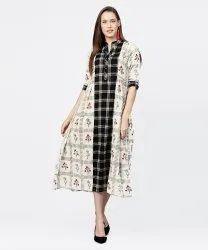 Off White Printed Half Sleeve A-Line Maxi Dress