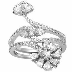925 Sterling Silver Floral Design Wedding Ring