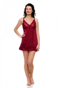 Red Satin Lycra Solid Lace Work Night Wear