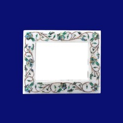 White Floral Marble Inlay Alabaster Photo Frame, Shape: Rectangular