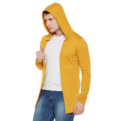 Wittrends Mustard Mens Hooded Cotton Cardigan Rs 280 Piece Id