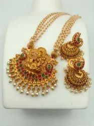 Copper White Pearl Temple Jewellery Set - J 300