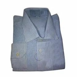 Collar Neck Men Khadi Formal Wear Striped Shirt