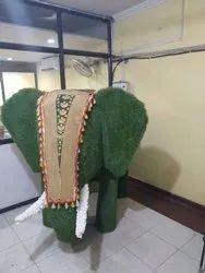 Green Artificial Grass Elephant Sculpture, for Exterior Decor