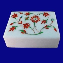 Beautiful White Marble Inlay Jeweler Box