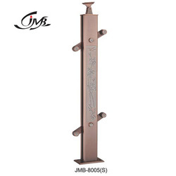 Aluminium Rose Gold Finish Rectangle Glass Fitting Baluster