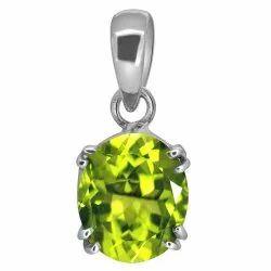 Peridot Crystal Pendant Silver Gemstone