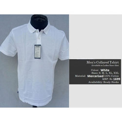 Plain White Collar T Shirt, Size: Small