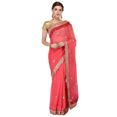 Party Ladies Hand Embroidery Silk Sarees, Packaging Type: Box, With Blouse Piece