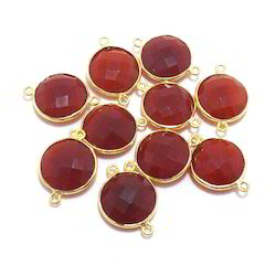 Carnelian Single Bail Round Bezel Connectors