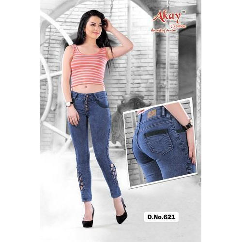 Ladies Stretchable Blue Denim Plain Jeans
