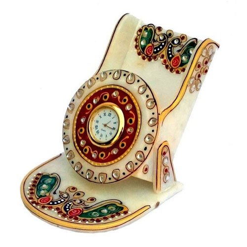 Marble Stone Marble Mobile Stand With Watch