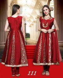 Anarkali Silk Brocade Ladies Wear