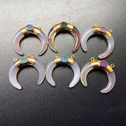 Agate Crescent Double Horn Druzy Pendant