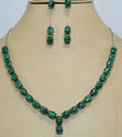 Silver Natural Malacite Gemstone Necklace Earring Set