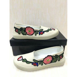 Off White And Casual Wear Ladies Ballerina Shoes, Size: 4-8 And