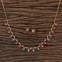 Delicate Gold Plated Cz Elegant Necklace 406500, Size: Regular Size And Adjustable