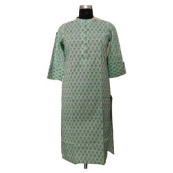 Straight Party Wear Printed Cotton Kurti