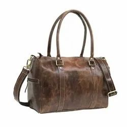 Outdoor Travel Buffalo Leather Cosmetic Womens Travel Duffle Bag For Casual Traveling