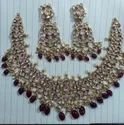 Ladies Bridal Necklace Set In 22 Ct Gold With Natural Uncut Diamond Polki Stones