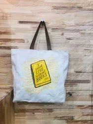 Canvas Shopping Bag with Leather Handle