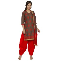 Brown Colored Brasso Cotton Embroidery Unstitched Casual Wear Salwar Suit