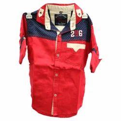Red Plain Boys Shirt