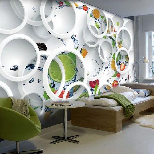 White Base Vertical And Circular 3D Designer Vinyl Wallpaper, Rs 149  /square feet | ID: 14876390773